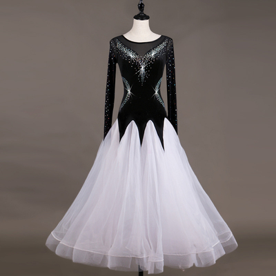 Fashion Dance Competition with Cool Screen Sleeves High-end Flash Drill National Standard Dance Dress Fellowship Skirt