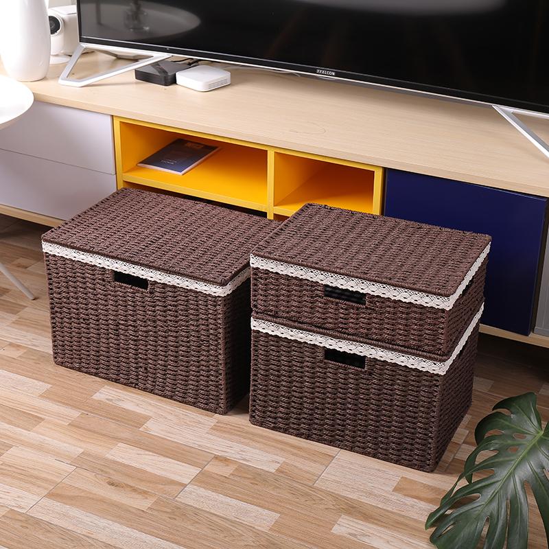 草编收纳盒藤编织收纳整理储存盒有盖桌面衣物零食杂物衣柜储物筐