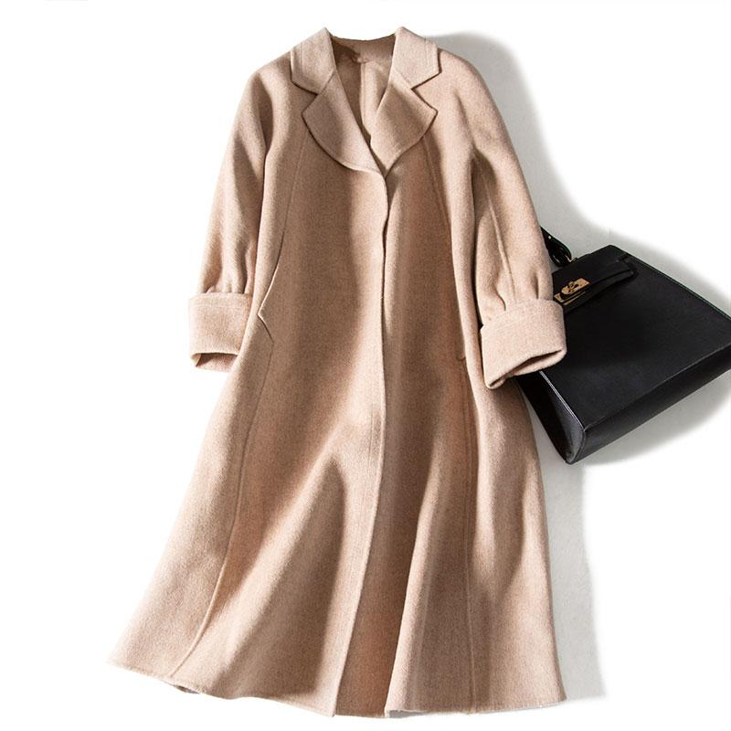 Phong cách Hepburn! Áo khoác cashmere hai mặt nữ giữa dài ~ áo len rộng mùa xuân cỡ lớn chống mùa - Áo Hàn Quốc