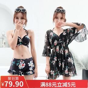 Бикини,  2018 новый купальный костюм женщина бикини три образца в южной корее мала грудь собирать сексуальный спа небольшой ароматный трехточечный, цена 921 руб