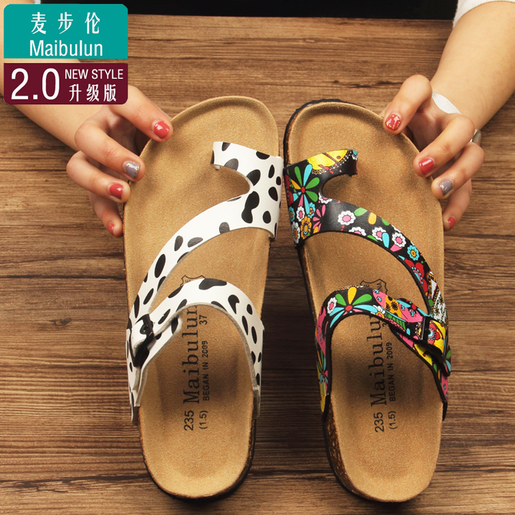 7a3365f9cfdc Mai bu Lun ulzzang Cork slippers couple shoes sandals sandals men and women  shoes summer set toe flat increased