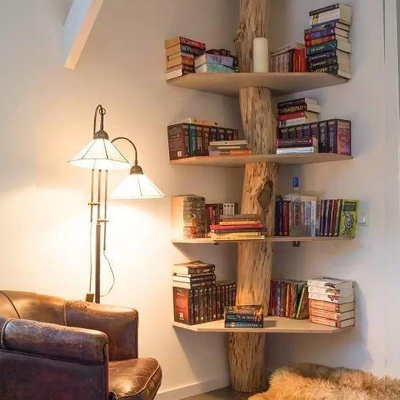 Retro Tree-shaped Small Bookshelf Living Room Shelf Solid