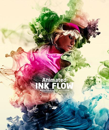 极品PS动作-水墨散流(含高清视频教程):Gif Animated Ink Flow Photoshop Action