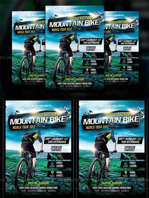 山地自行车比赛海报/传单模板:Mountain Bike Flyer Template
