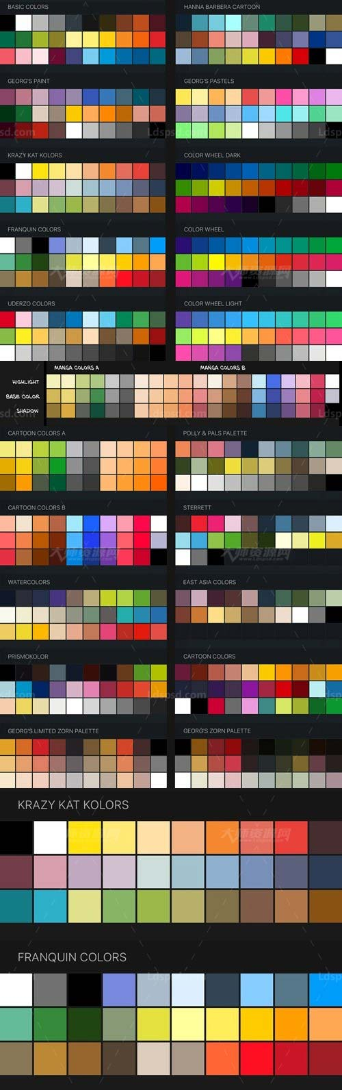 Procreate Color Swatches: 22 Palettes for Painting and Drawing,极品Procreate色板-22套绘画专用色彩