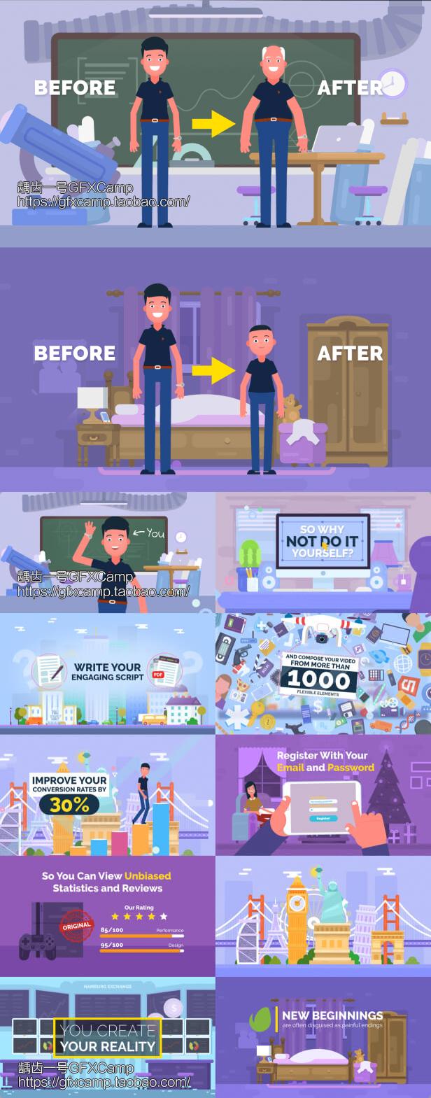 AE模板-卡通人物角色场景商品活动解说介绍MG动画片头