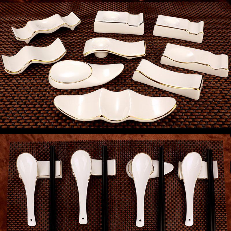 Home pure white ceramic chopsticks chopsticks pillow hotels and high - grade chopsticks rack spoon light key-2 luxury up phnom penh ipads China chopsticks holder