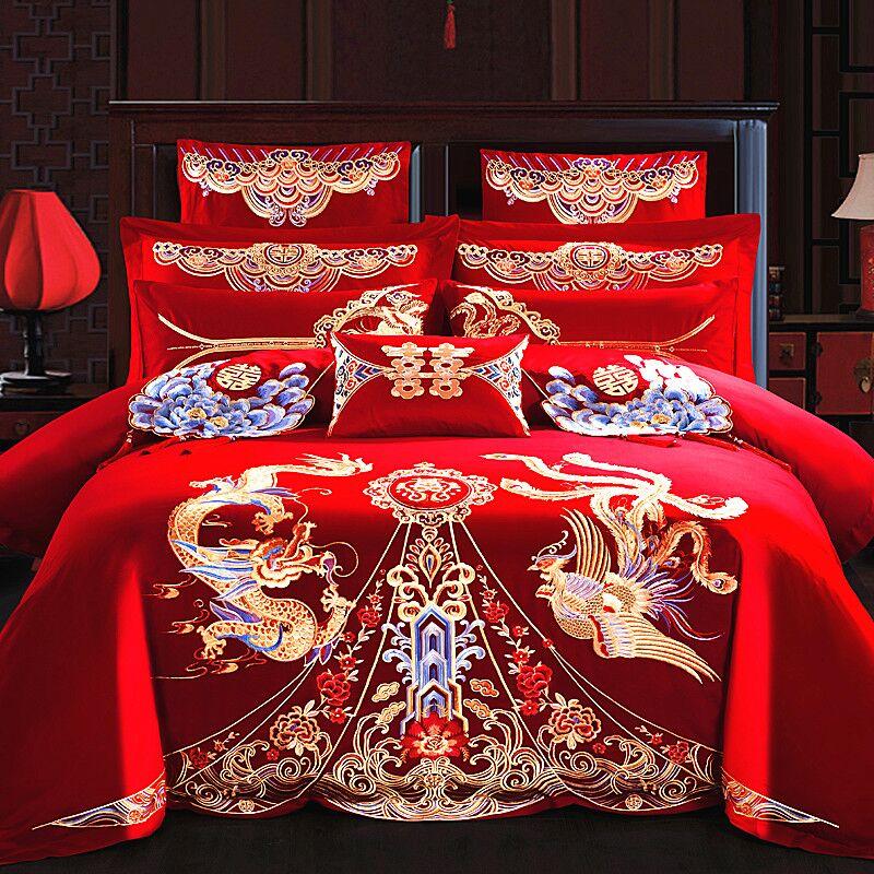 贡缎四纯棉大红刺绣件套花婚庆v贡缎六八十全棉件套床上用品