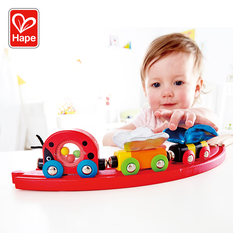 Hape Train track Insect train 1 years old + children's puzzle toys toddler Baby Smooth Wooden gift