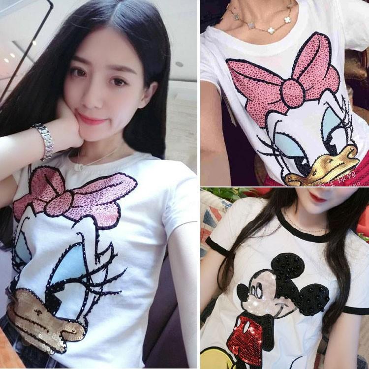 迪士尼全棉女装圆领t恤短袖纯棉唐老鸭黛西钉珠镶钻白色短袖半袖