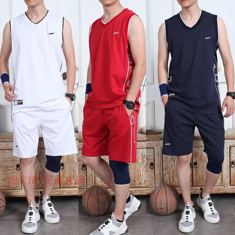 纯棉无袖运动套装男跑步健身背心短裤休闲宽松夏季服装薄款运动服