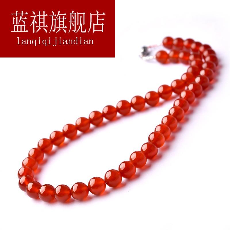 红玛瑙项链女 红色玛瑙珠子本命年毛衣链短款锁骨链水晶吊坠