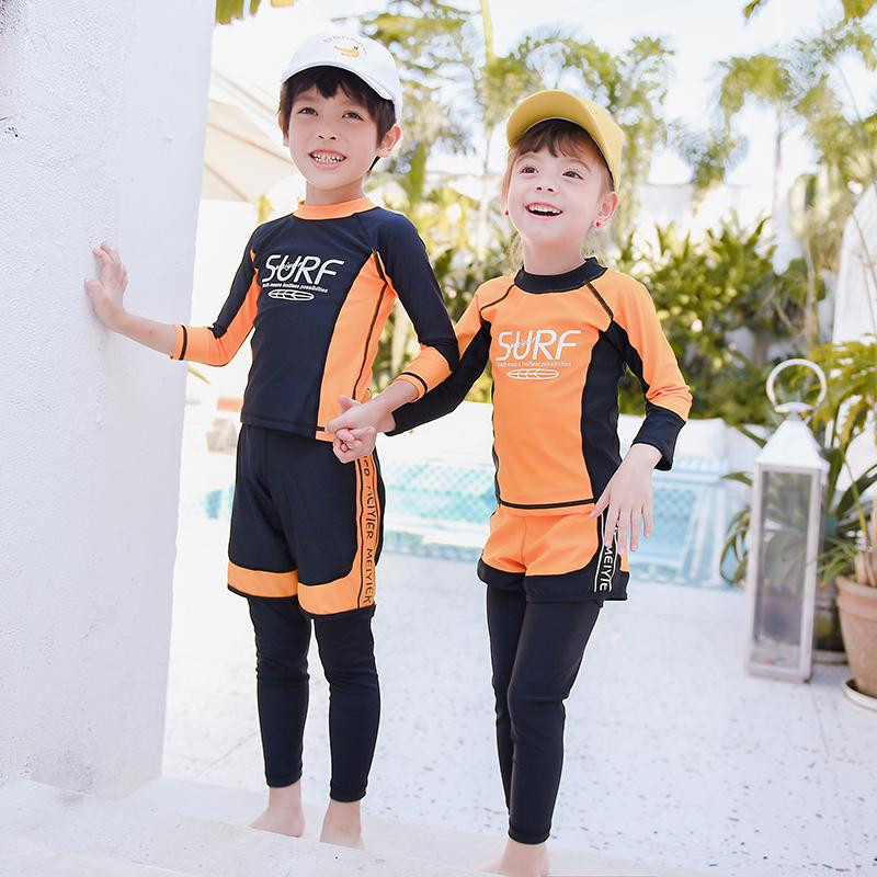 Áo tắm cho cha mẹ và con gái phù hợp với những cô gái khô nhanh trong những cậu bé lớn trai quần dài tay dài áo tắm chia đôi áo tắm chống nắng - Bộ đồ bơi của Kid