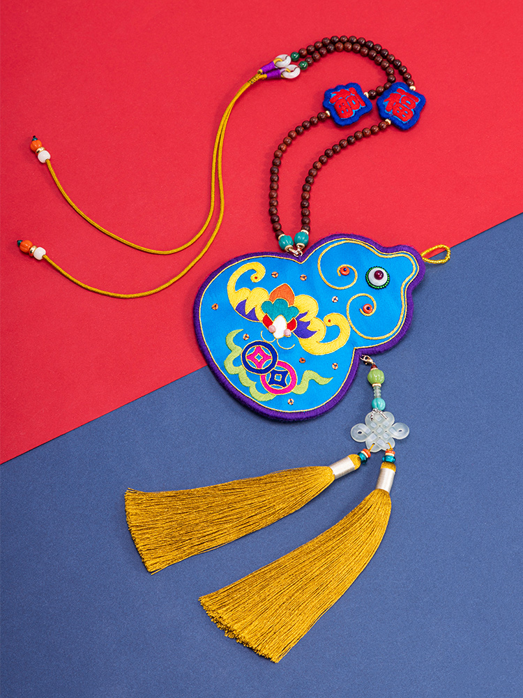 the hand of the king of the high-end double-sided pure manual embroidery, shu embroidery MiaoXiu silk gift pouch necklace with Chinese characteristics