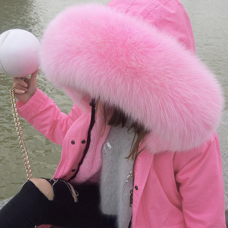2019 новый большой настоящий лиса волосы меховым воротником подбитый съемный утолщённый сохраняющий тепло вкладыш зима пальто женские короткие модель 582185754245