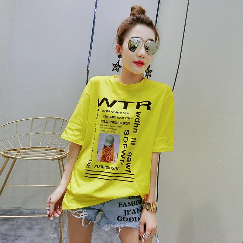 2019时尚新款潮流T恤女圆领纯棉大码印花短袖