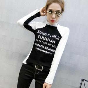 PQ78548# 新款圆领撞色棉T恤女时尚百搭打底衫潮流个性字母小衫