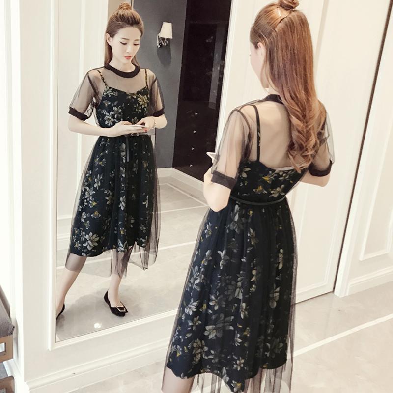 裙子夏季2017新款韩版显瘦碎花雪纺连衣裙女套装吊带裙女装两件套