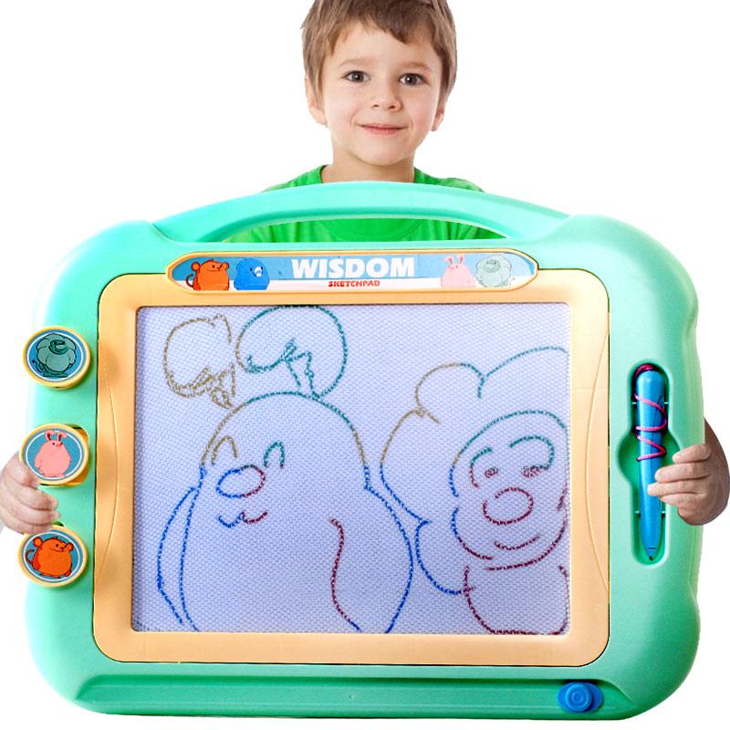 儿童超大号画板 彩色磁性印章画画板宝宝涂鸦写字板幼儿可擦1-3岁