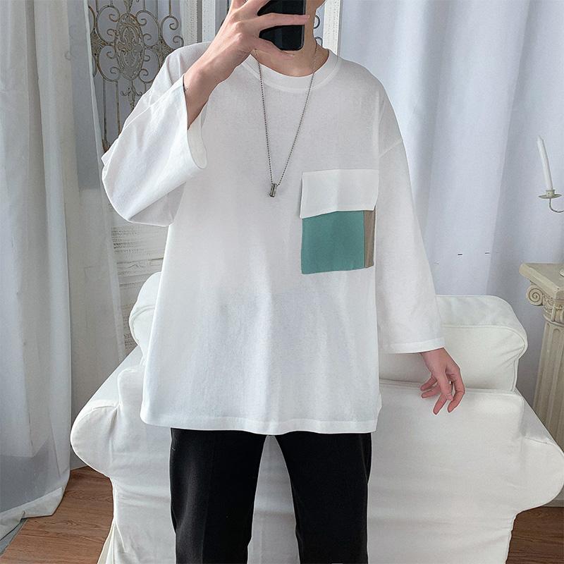 Mùa xuân và mùa hè chàng trai Hồng Kông phong cách áo thun nam dài tay bỏ túi giản dị áo ba lỗ tay áo hàng đầu quần áo tay áo - Áo phông dài