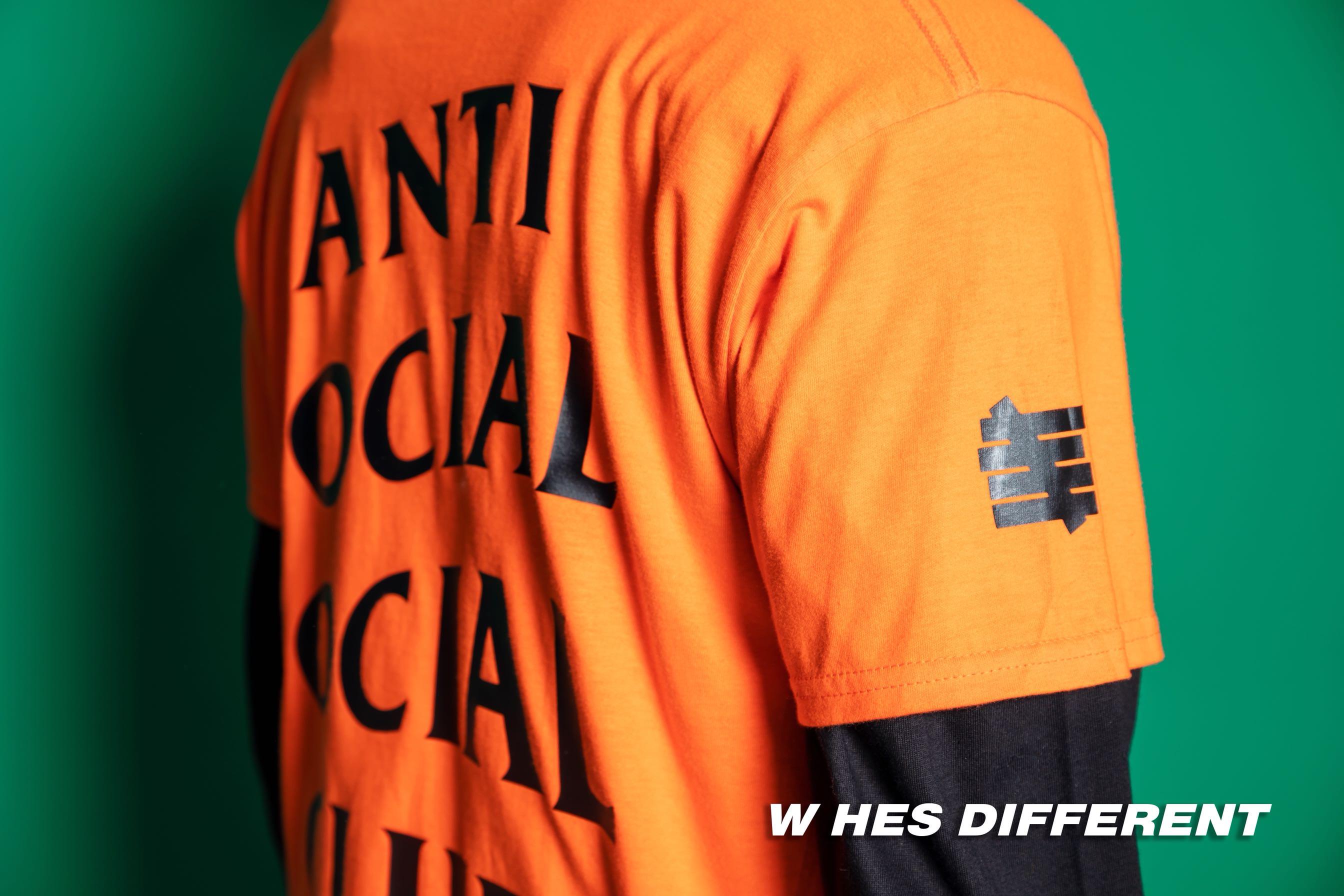 橘色新款青春流行男t恤长袖有领 宽松 半袖欧美高街潮款字母T