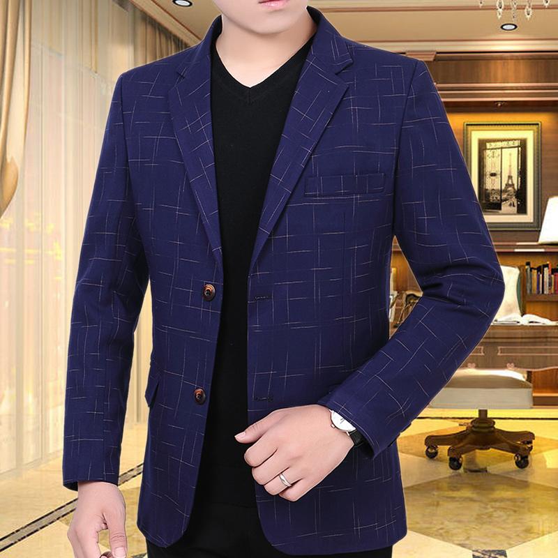 中年西装男士小西服男薄款v西装外套男韩版修身便西2019春秋季新款