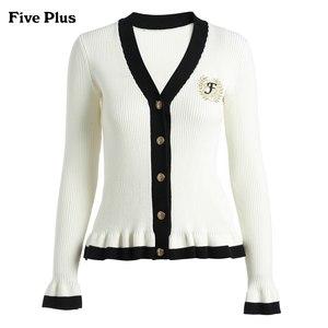 【预售】Five Plus2018新款女冬装长袖毛衣开衫女拼接荷叶边外套