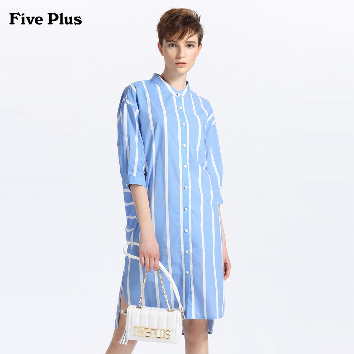 Năm Plus2018 mới mùa hè ăn mặc bất thường ăn mặc ngắn tay lỏng lẻo sọc áo váy