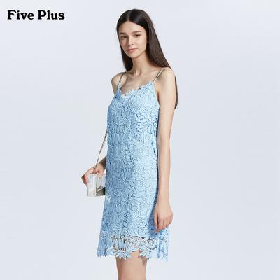 Năm cộng với phụ nữ của mùa hè đầm ren tay V-cổ ngắn dây đeo đầm thủy triều tạm thời rỗng