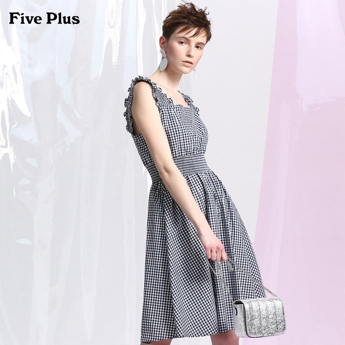 Năm Plus2018 mới nữ mùa hè kiểm tra đầm dây đeo nhỏ váy tươi nấm cao eo không tay