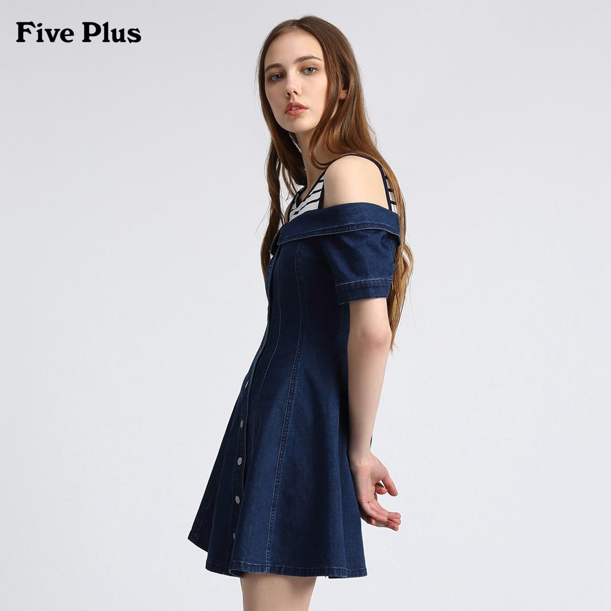 Năm Plus2018 mới nữ mùa hè quây đầm ngắn tay Slim sọc cao thắt lưng váy denim