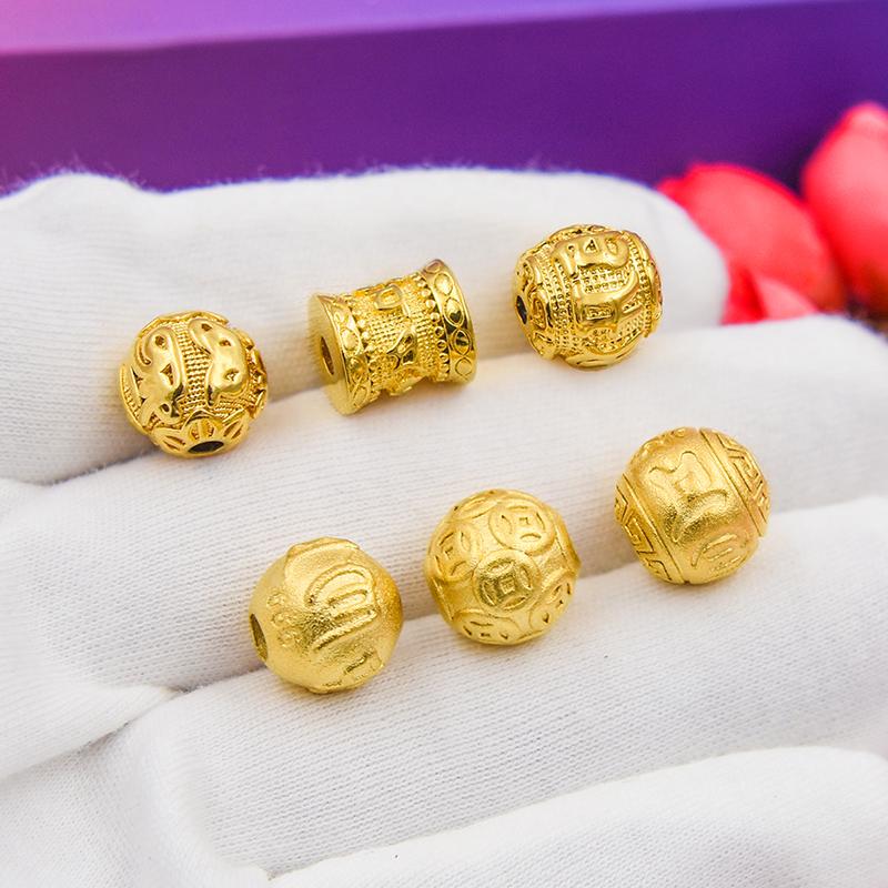 Cát vàng sáu câu thần chú chuyển mặt dây chuyền hạt tròn hạt tự làm giả vàng vòng tay phụ kiện 24k đính hạt lỏng lẻo - Vòng đeo tay Clasp