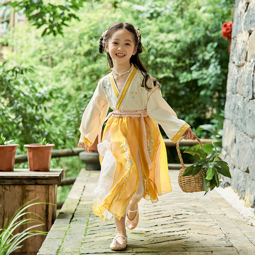 Chinese Hanfu girls princess dress Tang costume Chinese style little girls retro Ru skirt childrens ancient clothes