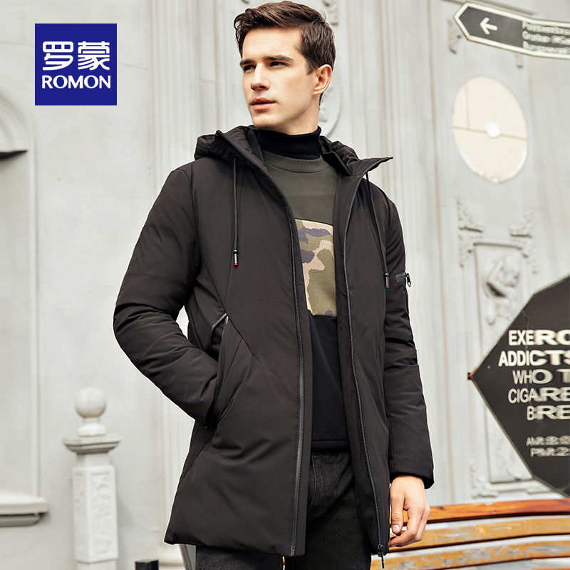 Romon Romon down jacket men's long leisure middle-aged and young hooded thick large size solid color warm jacket male