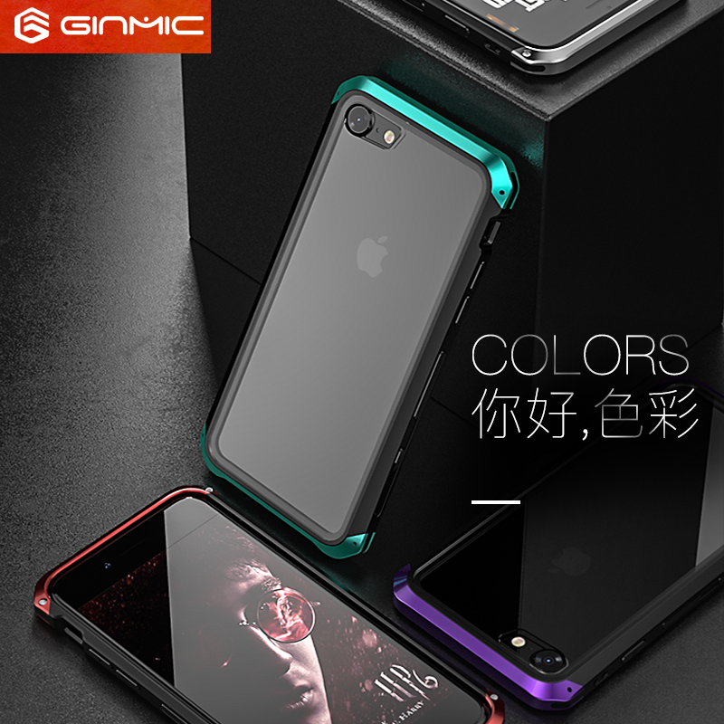 GINMIC Solace Glass Aerospace Aluminum Frame Toughened Glass Case Cover for Apple iPhone 8 Plus & iPhone 8 & iPhone 7 Plus & iPhone 7