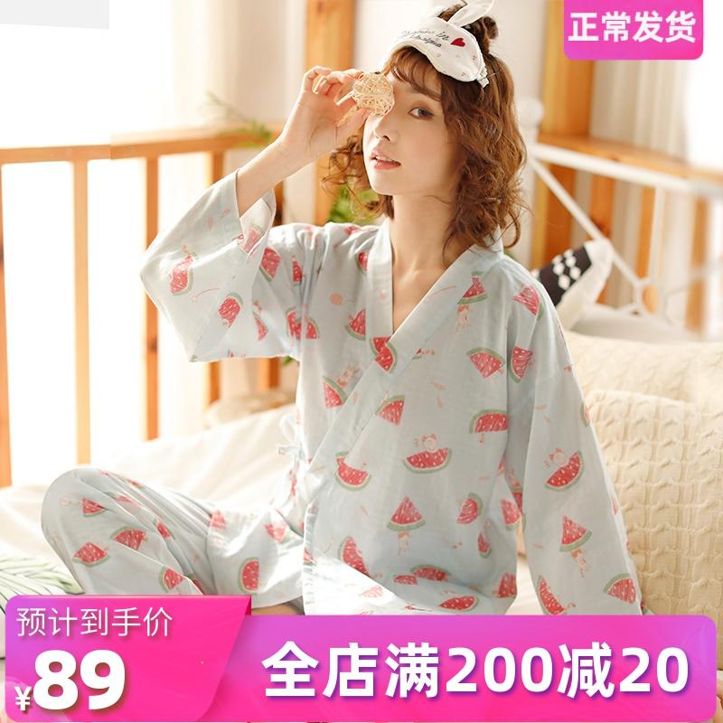Nhật Bản vẽ tay dưa hấu dài tay và đồ ngủ gió phụ nữ mùa xuân và mùa thu lỏng lẻo mùa hè bông ngọt dịch vụ nhà ngọt ngào - Bộ Pajama