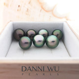 Tahitian black pearl beads 8mm circular natural nude Tahitian pearls Miss DANNIWUPEARLS