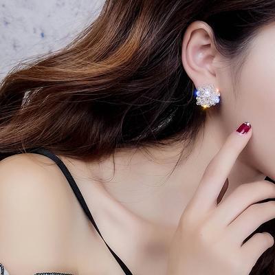 睡觉不用摘的耳环女 新款潮气质 个性百搭水晶耳钉耳坠耳饰