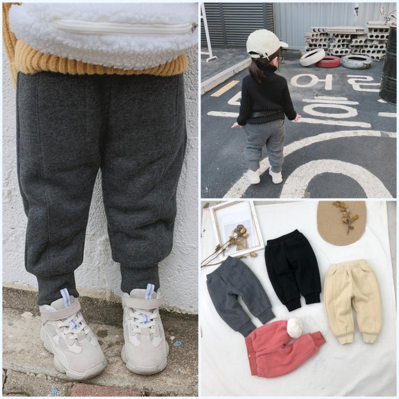 2018年冬装新款韩国男女童加绒加厚针织裤休闲童裤加厚运动裤子潮