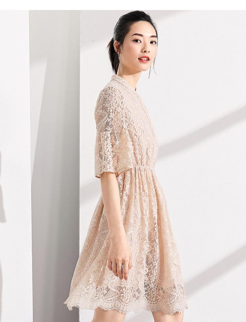[Giá mới 149 nhân dân tệ] 2018 mùa hè cổ áo cổ áo trumpet tay áo đầm ren eo Một từ váy váy cổ tích