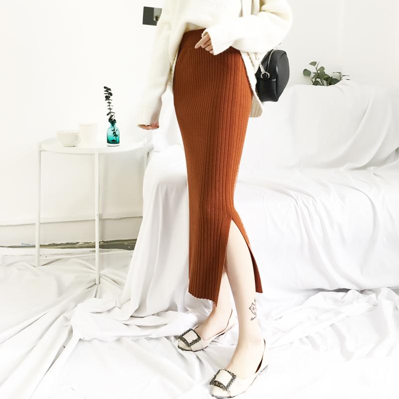 2018新款秋冬毛线chic风针织半身裙中长款修身一步包臀裙女