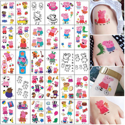 Children's tattoo stickers Korean cartoon tattoo stickers pink piglet social people vibrato the same paragraph safety, environmental protection and waterproof