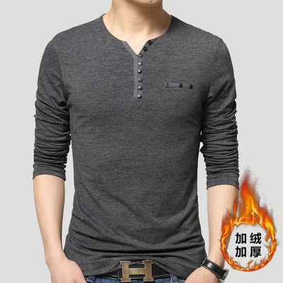 Daily specials young plus size men's V-neck Slim solid color plus velvet thick long-sleeved t-shirt men compassionate Paul warm