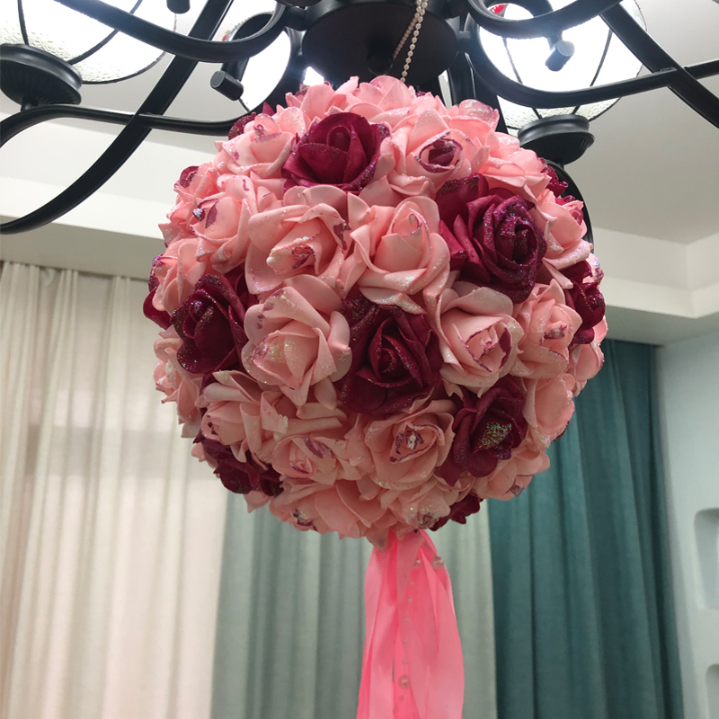 Wedding supplies Wedding scene New wedding room decoration supplies decoration pull flower ribbon flower ball yarn curtain