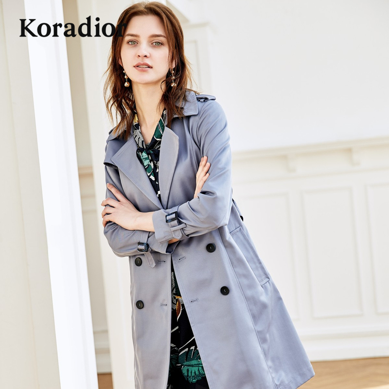 Koradior-珂萊蒂爾品牌女裝2018秋裝新款時尚修身風衣中長款外套