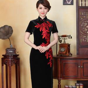先派唐装女时尚修身复古旗袍婚宴妈妈丝绒绣花中式中长款礼服旗袍