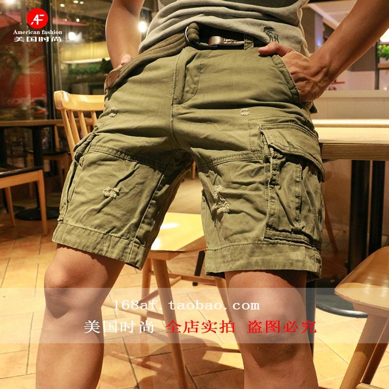清仓特价美国时尚af男短裤磨破做旧工装多口袋休闲迷彩短裤夏现货