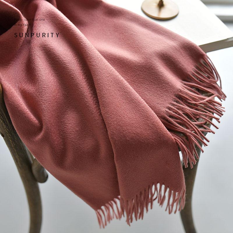 色璞新鲜抓绒高级阿尔巴斯山羊绒波纹女围巾秋冬水重磅羊绒披肩
