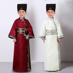 Children ancient chinese hanfu clothing boy Ancient Song Dynasty poet Su Shi recites ancient poetry and performs Costumes