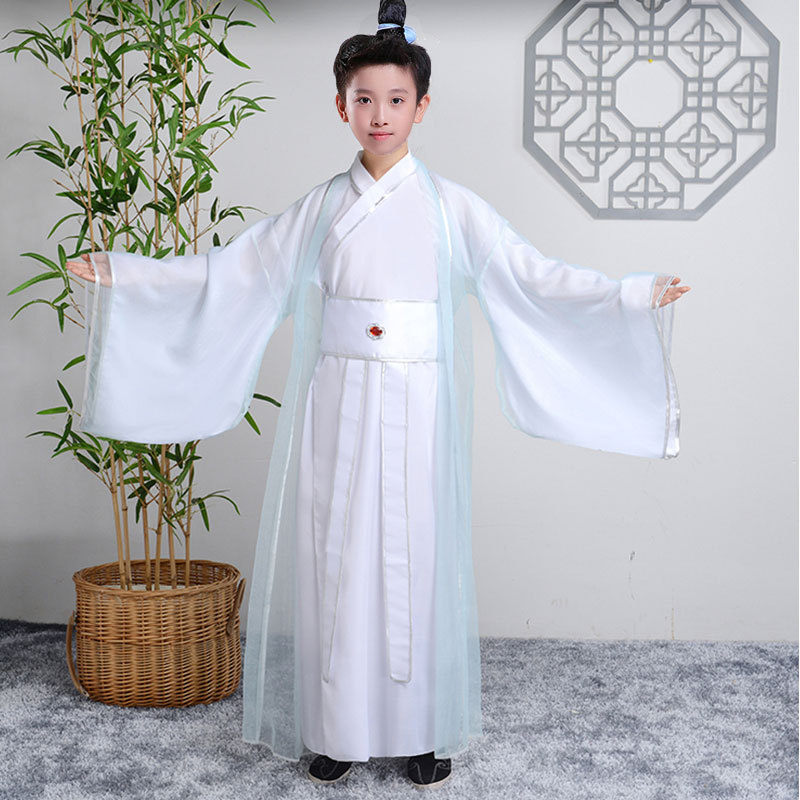 Children chinese hanfu for boys chinese ancient swordsman warrior performance costumes for boys